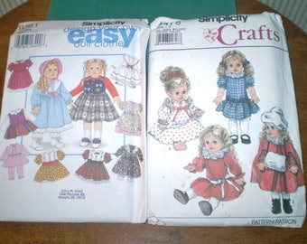 Pair of vintage doll clothes patterns- Simplicity 9478 and Simplicity 9381 for all size dolls- design your own doll outfits- new and used
