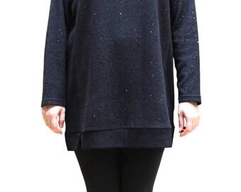 Black Glitter Quarter Sleeves Knit Top