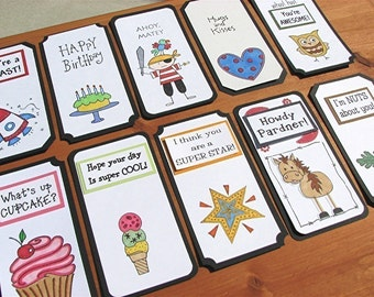 Lunch Box Love Notes Set 1b, Lunch Notes for Kids, Lunch Box Notes