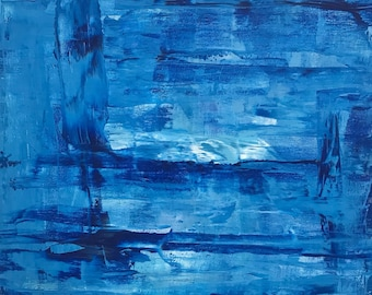 50% OFF, Blue Abstract Painting, Blue, Canvas, Art, 20x20