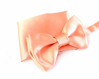 bow tie with handkerchief in pastell-salmon as set