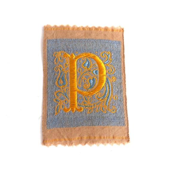Monogram P Applique, 1930s Vintage Embroidered 'Letter P' applique. Alphabet  Patch / Monogram application, antique letter.