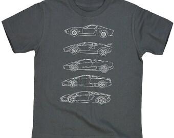 Lamborghini V12 Generations Blueprints T-Shirt for Youth