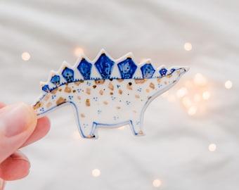Stegosaurus Dinosaur Porcelain Brooch