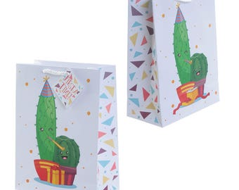 Party Gift Bag Fun Cactus Design Medium Glossy x12