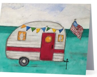 Camper Boxed Note Cards, Vintage Camper notecards, vintage cards, camping notecards notecards notecard set camping gifts farmhouse notecard