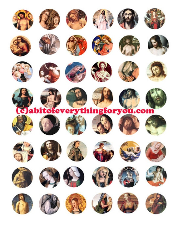 """jesus christ virgin mary antique paintings art collage sheet 1"""" inch circles bottle caps digital download religious art images printables"""