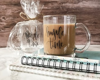 Hustle Time Glass Mug 11oz   Two Sided Design   Packaged Gift Ready with Twine   Perfect Gift for Bosses, Entrepreneurs, & Creatives