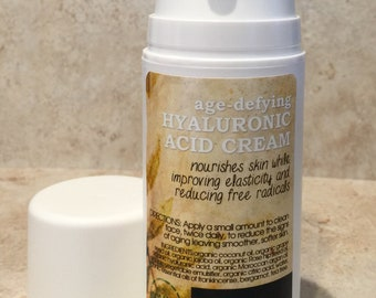 Age Defying Moisturizer with soothing Hyaluronic acid. Reduce wrinkles, add moisture, produce collagen. Organic