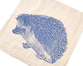 Hedgehog, Hedgie Towel - Hand Printed Flour Sack Kitchen Towel (Unbleached Cotton)