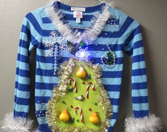 Kids Girls Adorable Ugly Christmas Sweater a Partridge in a Pear Tree, Christmas Tree Sweater Size Medium 7/8, Girls Sweater, Light up Pin