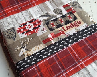 Rustic Baby Quilt, Red and Black Lodge Decor,  Lumberjack Baby Quilt, Modern Boys Nursery Quilt, Woodland Baby Quilt, Elk Boys Quilt
