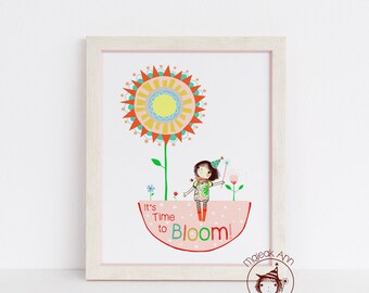 Time to Bloom- Nursery Decor - Girl and Mandala Flower -Stars -Fine Art print - baby girl decor - whimsical baby girl illustration