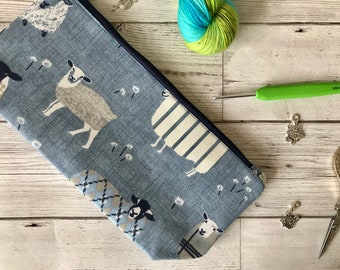 Blue Grazing Ewe - Lamb Project Bag - Small project bag/large notions case