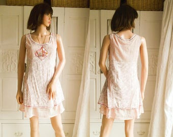 Unworn Pale pink lace dress Mini Dress Summer Boho dress Festival Summer Boho pastel Wedding dress Pastel shift dress Pastel floral dress