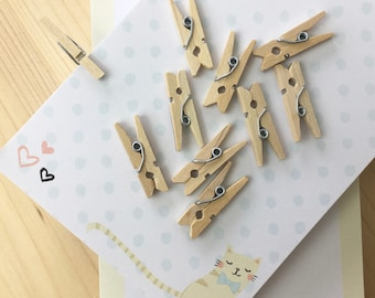 10 mini clothespins decor scrapbooking - size 2.5 cm