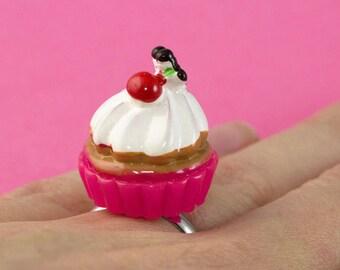 Cherry Cupcake Ring - Kawaii Food Ring - Pink