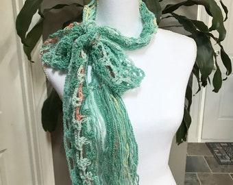 Mint Green Lightweight Thin Mesh Spring Crochet Scarf ~ Any Season Scarf ~ Long Fringe Scarf ~ Boho Trendy Hippie Gypsy
