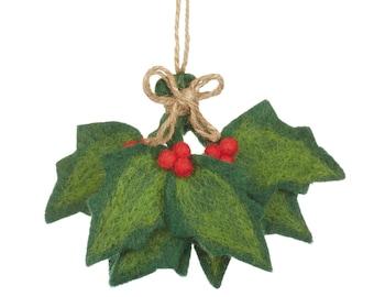 Holly Sprig -  Felt Sprig - Felted decorations - Holly leaves - Christmas decoration - Wedding Decoration - Handmade