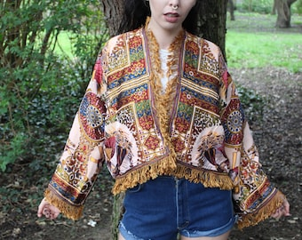 Kimono, Boho Kimono, Gift For Her, Bomber Jacket, Coverup, Boho Chic, Tassel Jacket, Boho Clothing Women, kimono jacket, Embroidered Kimono