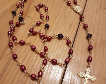 Red Pearl, Purple Crystal and Gold Rosary