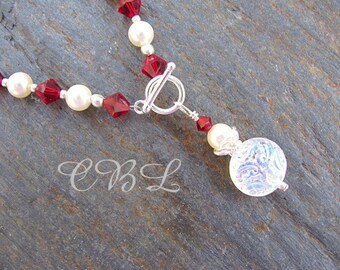 White Iridescent Glass Brocade Beads and Red Crystal Toggle Necklace
