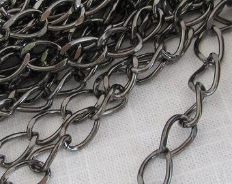 Gunmetal Plated Steel Purse or Belt Chain Ch014 -3 Feet