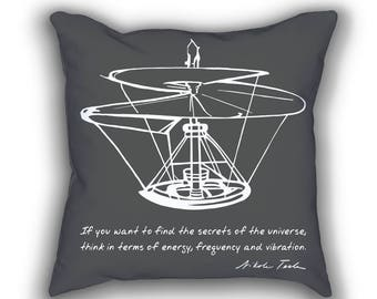 Tesla's Quote throw pillows with words