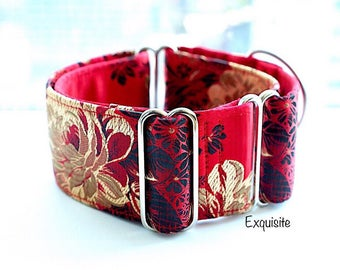 EXQUISITE - Special occasions martingale collar, Fancy sighthound collar, Greyhound collar