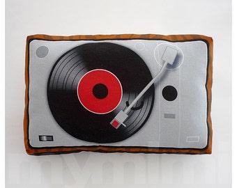 "Retro Pillow, Music Pillow, Vinyl Record Player, Turntable, DJ, Disk Jockey, Music Box, Vintage, 80's, Kawaii, Room Decor, 9 x 6"""