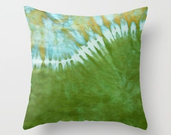 Outdoor Tie Dye Throw Pillow-Green Wave-Weather-resistent-UV coating-Square Rectangle-14x20, 16x16, 18x18, 20x20