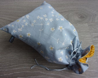 reversible linen tote bag. Sky blue and yellow tones. Japanese floral and polka dot pattern fabric. Japanese