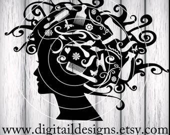 Hair Stylist Head SVG - png - dxf - eps - ai -fcm -  Cut File - Silhouette - Cricut - Styling Tools - Hairdresser SVG - Hair Stylist SVG
