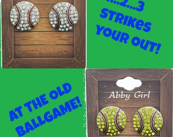 Rhinestone  Baseball or Softball Post Earrings