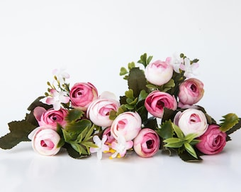 13 Small Mini Vintage Inspired Ranunculus Buds in White and Hot Pink plus Foliage - silk artificial flower - ITEM 01146