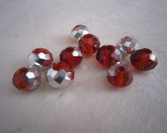 Red and gray beads metallic faceted glass - set of 10