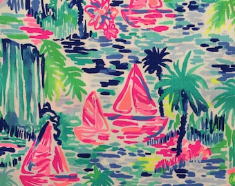 """multi salt in the air dobby cotton fabric square 18""""x18"""" ~ lilly spring 2018 ~ lilly pulitzer"""
