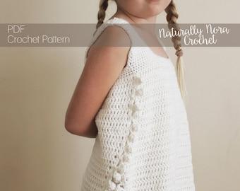 Crochet Pattern: The Maya Tank Top-5 Sizes Child  S, M Adult s, m, L-split sides, pom poms, festival, tank top,
