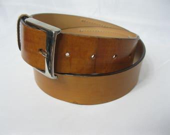 "Thick Brown Leather Saddler Belt Size 85cm 31"" - 35"""