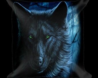 Dark Wolf Designer Throw Pillow