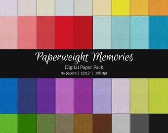 Basic: Solids Linen Texture - 36 colours - Digital Papers - digital scrapbook -  textured paper - digital background - CU ok