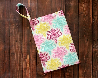 Cloth Pad Storage Bag Small Hanging Wet Multi Damask on White Cotton/Nylon Washable Reusable