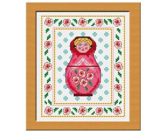 Russian doll cross stitch chart PDF file
