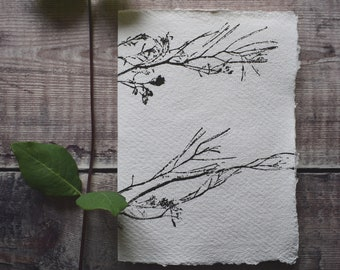 Hand bound and printed notebook: Plant with roots