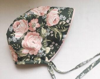 Floral brimmed Baby Bonnet