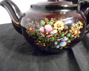 Redware Glazed Brown Teapot Set Moriage,  Flowers, Japan Raised