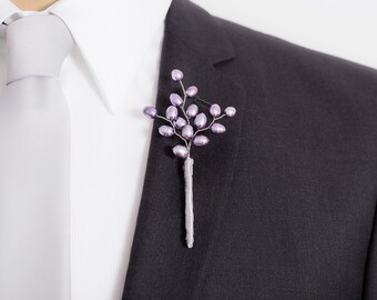 Limited Edition Freshwater Pearl Boutonniere - Lavender Purple - Mens  Boutonniere
