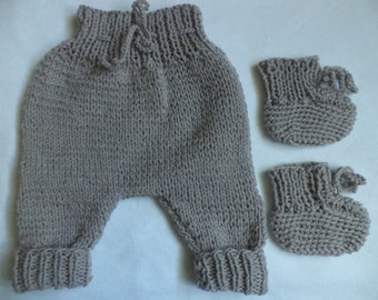 Set knitted bloomers baby shoes Gr. 50/56 baby baby pants wool