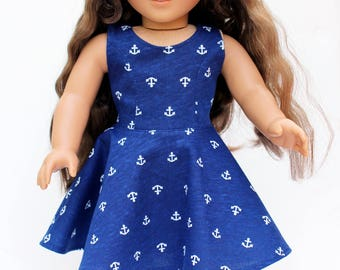 Fits like American Girl Doll Clothes - Navy Anchors Skater Dress | 18 Inch Doll Clothes