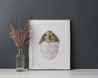 Childrens Wall Art Bunny Print - Bunny Painting - Rabbit Print - Bunny Art for Chilren - Baby Animal Prints - Woodland Animal Art